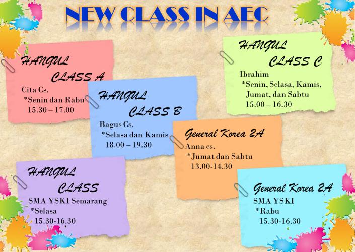 Jadwal kelas baru AEC